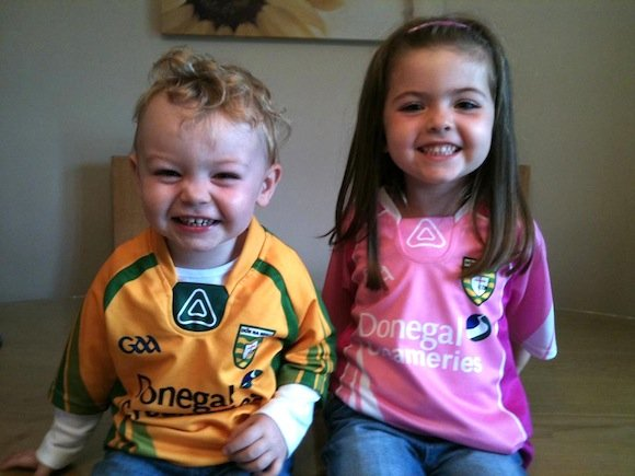 KEEPING 'ER DONEGAL: DANIEL GILLEN, 20 MONTHS, AND BIG SISTER ELLEN, 3, IN COOKSTOWN, CO TYRONE. MUM CATHRIONA FROM TRENTAGH IS MAKING SURE THEY KNOW WHICH COUNTY TO SUPPORT!