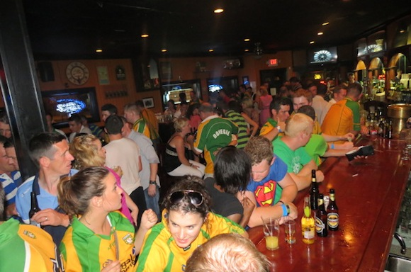 Donegal fans celebrate in The Center Bar in Dorchester after defeating Cork!