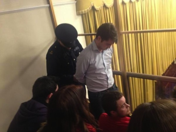 USI PRESIDENT JOHN LOGUE BEING ARRESTED IN THE DAIL (pic USI)