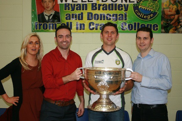 Avid followers of GAA football Sue McSheffrey Philip McGuinness and Sean McFadden teachers in Crana College with Past Pupil Ryan Bradley