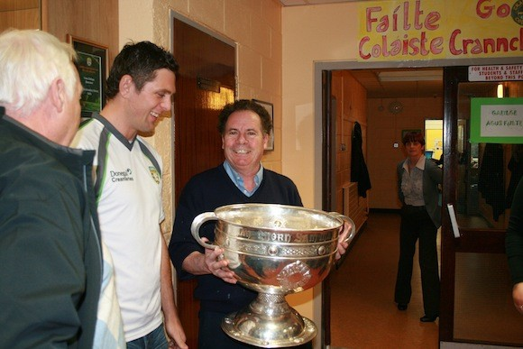 Ryan Bradley with Michael McLaughlin Caretaker in Crana College