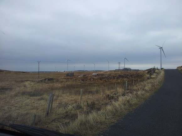 The toppled wind turbine at Ardara can be seen on the left of the picture