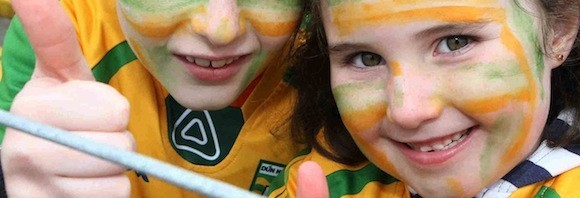 Callum and Elle enjoy the Donegal Game on Sunday. Photo Brian McDaid