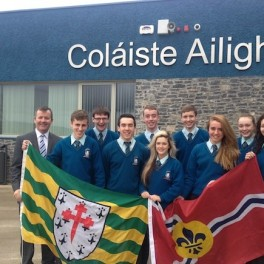 Pupils of Colaiste Ailiagh with principal Micheál Ó Giobúin,