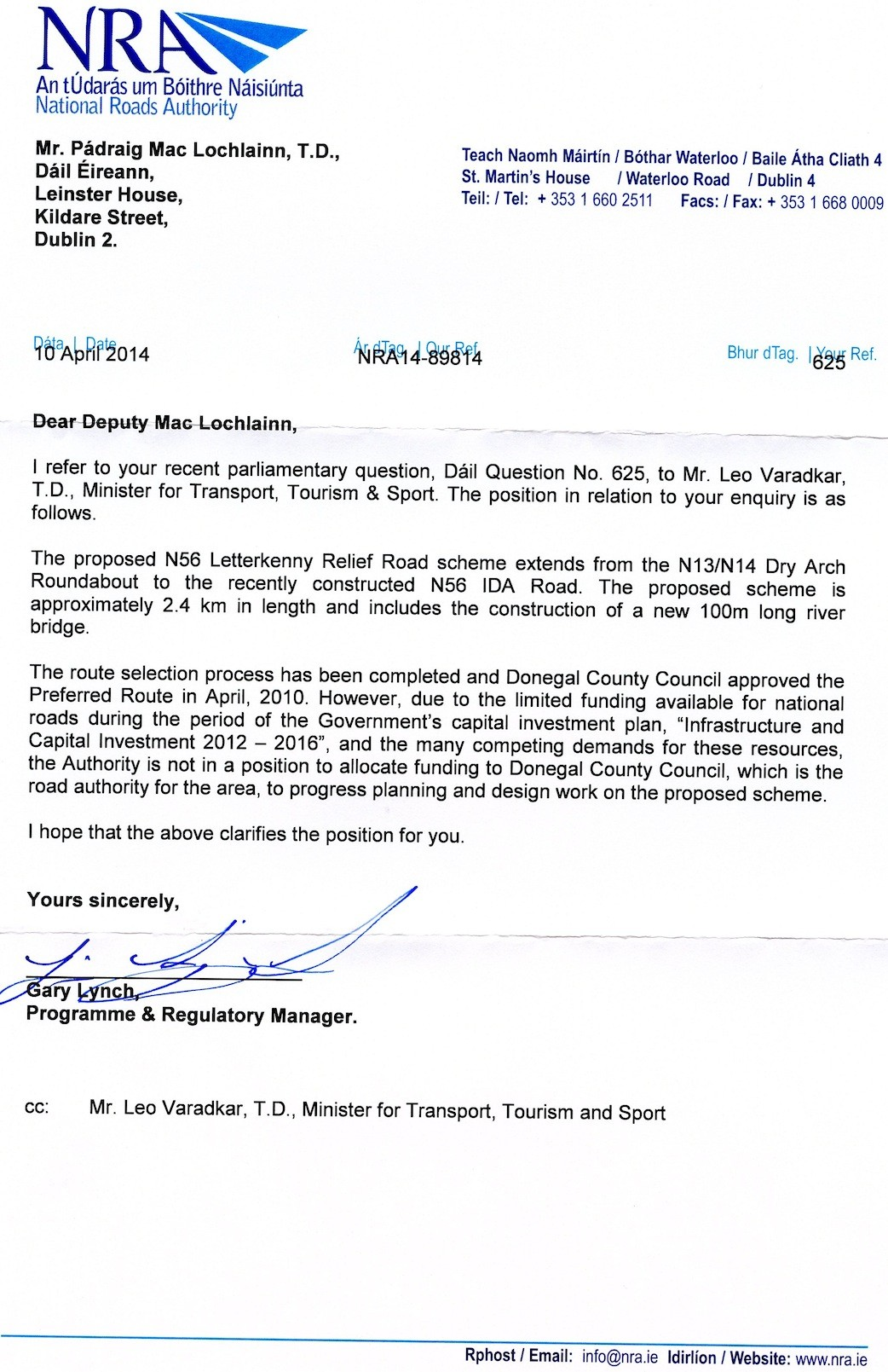 The letter sent to Deputy MacLochlainn and Minister Leo Varadkar.