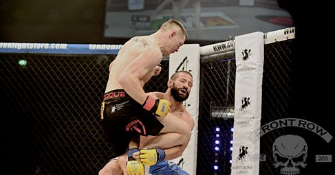 Duffy delivers the devastating KO to French opponent Julien Boussuge in the opening round of their fight on Saturday night.