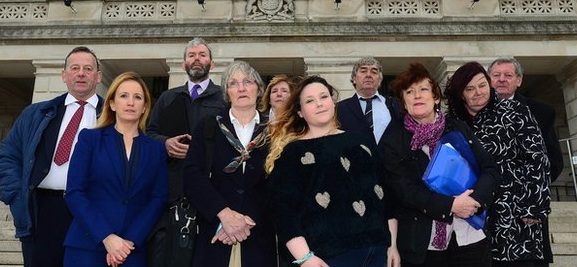 Ann Doherty, Mary Boyle's twin sister, pictured at Stormont with the campaign group