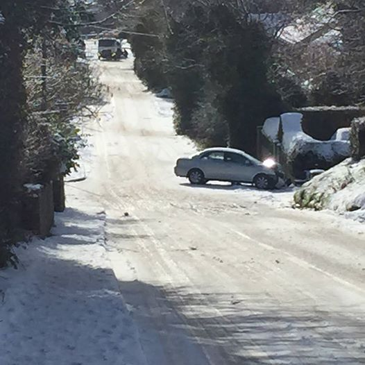 A car off the road at the Old Glencar Road near Fernhill, Road has been described as lethal.