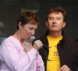 An emotional Majella O'Donnell wipes away a tear while Daniel was performing at the Relay for Life in Letterkenn last year.  (North wEst Newspix)