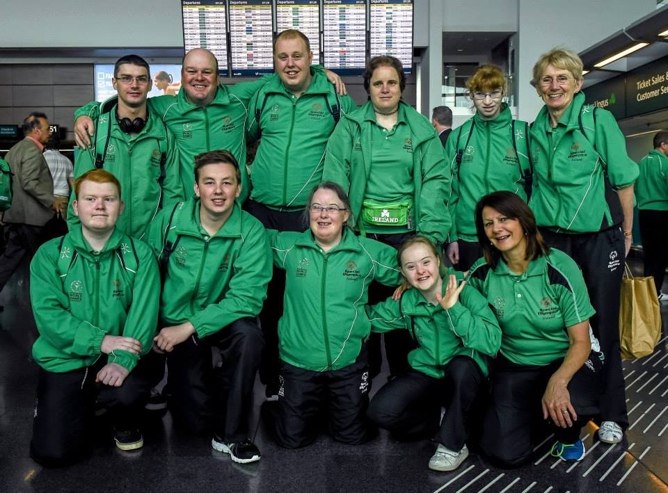 Oliver Doherty, (back row, 2nd from left) who has won a silver medal at the Special Olympics in Los Angeles