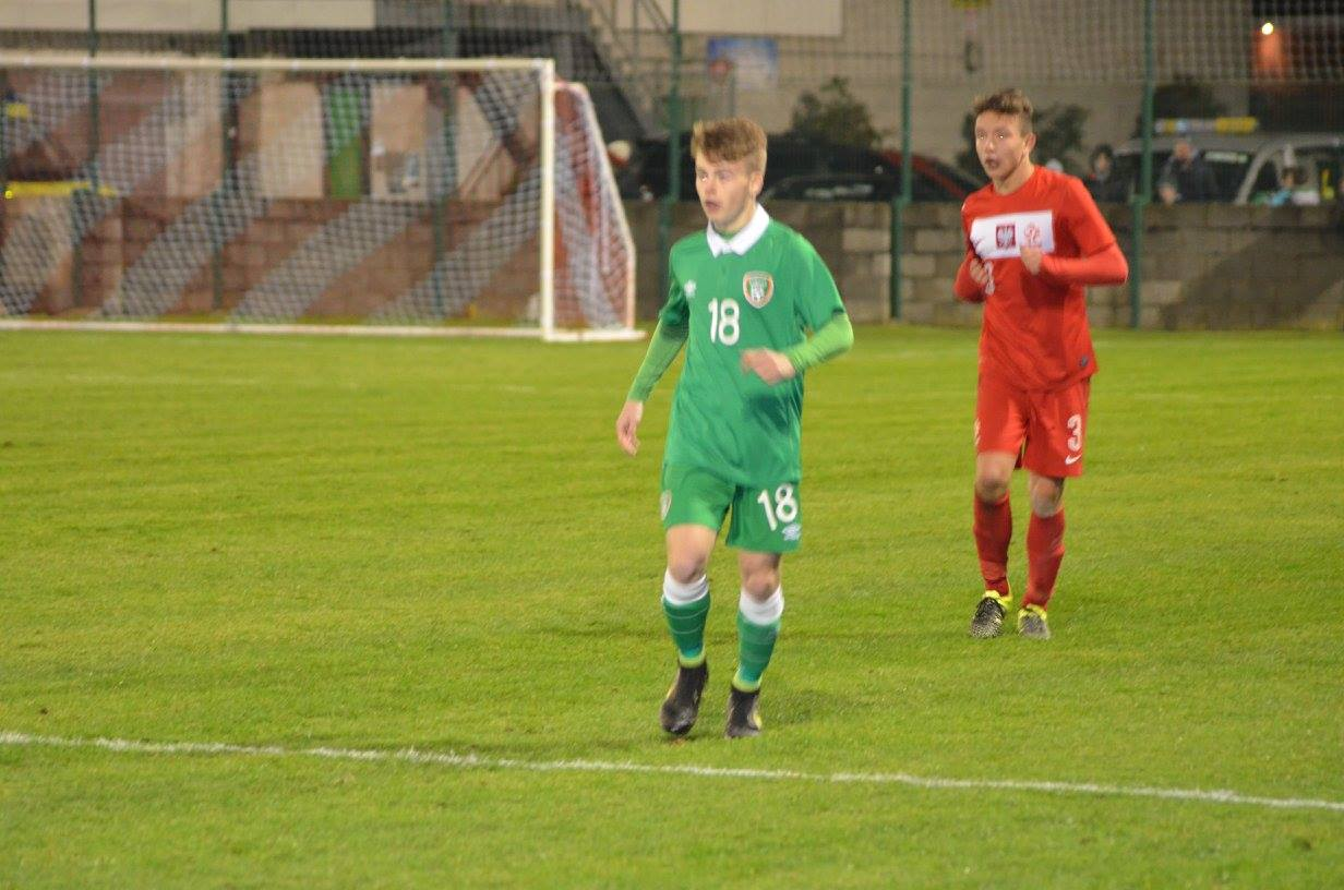 Marc Walsh in action for Ireland against Poland.