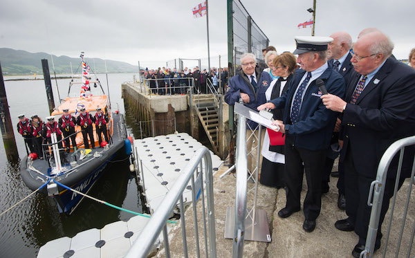 Jimmy Tyrrell, Honorary Life Govenor with John McCarter Lough Swilly, RNLI, Lifeboat Operations Manager  naming the first  Shannon Class lifeboat,  13-08 Derek Bullivant at Lough Swilly Lifeboat Station on Saturday the 25th of June.  Photo - Clive Wasson