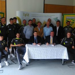 Members of LYIT, Donegal County Board and various players at today's official signing.