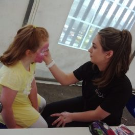 Getting on a bit of make-up for the big day!