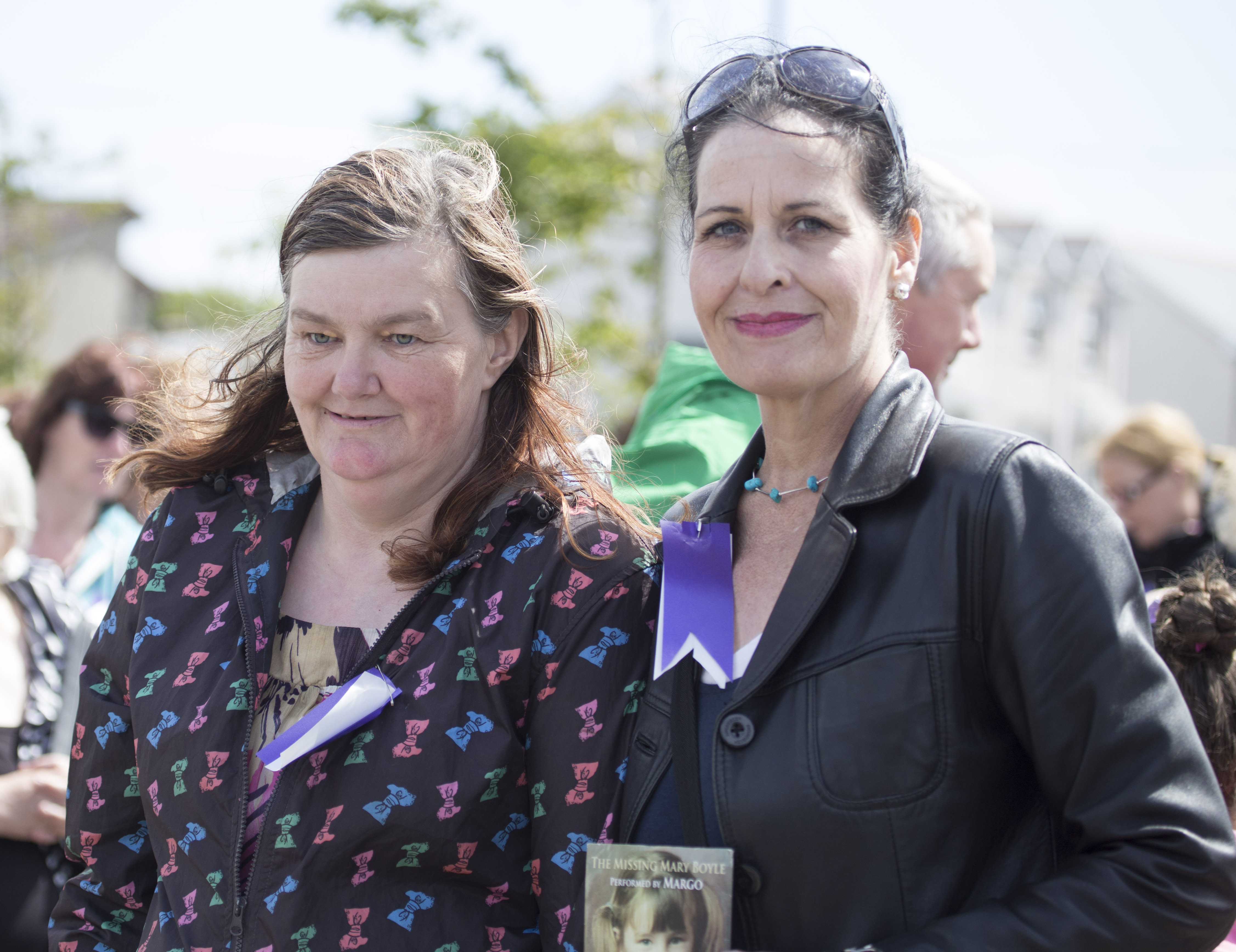 Mary Boyle's twin sister Ann with march organiser Naomi Brady in Ballyshannon.  (North West Newspix)