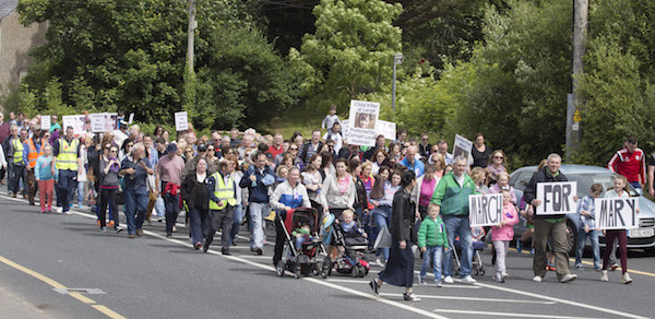 Some of the large crowd who attended the Mary Boyle march as it passes through Ballyshannon towards the local Garda Staation. (North West Newspix)