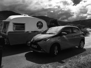 The Toyota Aygo pictured in Glenveagh beside the happy Camper as the driver enjoy the coffee. Photo Brian McDaid