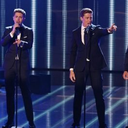 Jack Pack and David Walliams are seen at The 2015 Britain's Got Talent semi final live show.