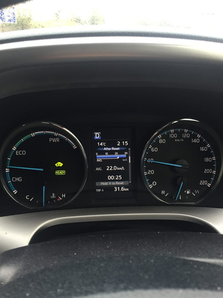 The Clock on the left lets you know what your driving is producing when you are on the road with the New Hybrid RAV4. Photo Brian McDaid