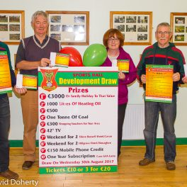 Picture: Chairman Paddy McLaughlin, Treasurer Eoin McDonald and Secretary Elizabeth Doherty are pictured with Liam McLaughlin and Michael Doherty at the launch of Carndonagh GAA Club's Sports Hall Development Draw.