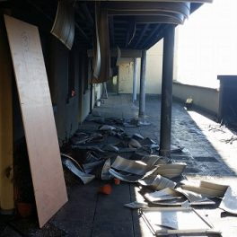 Some of the damage at the apartment block in Letterkenny.