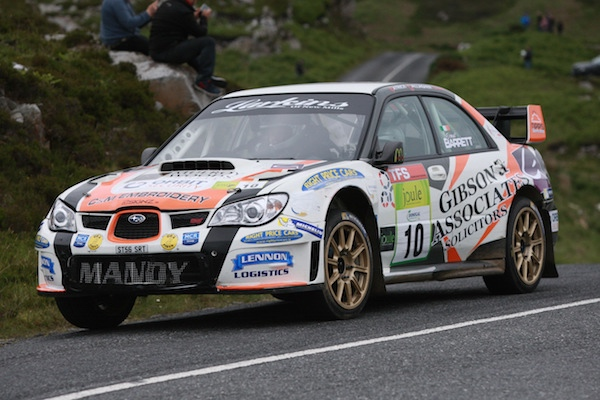 Winner of the Donegal International Rally Manus Kelly and Donall Barett in their Subaru. Photo Brian McDaid