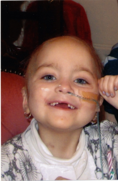 Erin Gallagher aged three when she was ill in hospital.