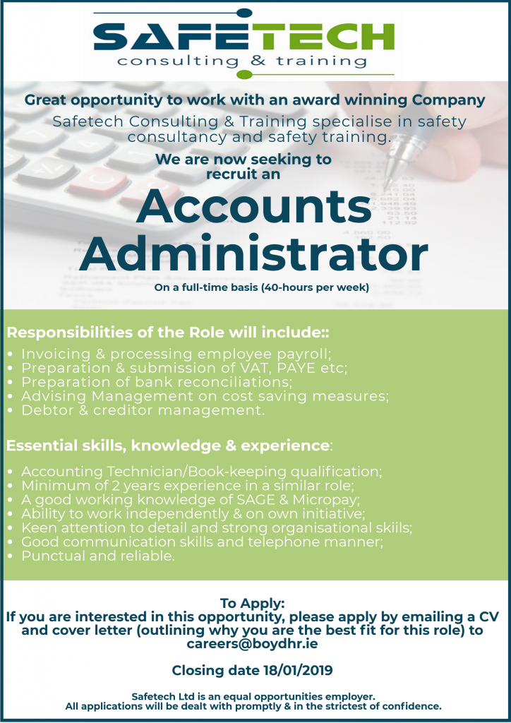 Job Vacancy Award Winning Company Seeks Accounts Administrator