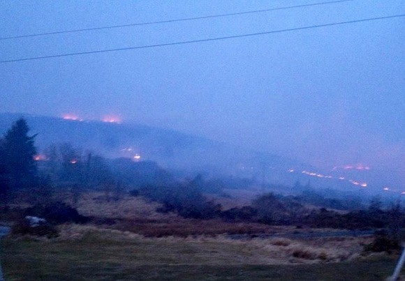 The fire rages in Annagry this morning. Pic courtesy of Paddy Barry.
