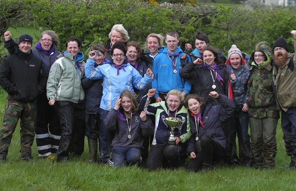 """8th Donegal (Carndonagh) Scouts pictured here with their leaders and mentors when they won the Errigal Scout County Cup and will now represent the County in the national event """"The Phoenix"""" in August."""