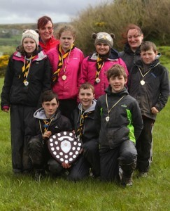 19th Donegal (Lifford) Scouts who won the Errigal Scout County Shield competition with was held in Culdaff during the weekend.  Also in photo are section leaders Lisa McGuire and Dearbhla Gilmartin.