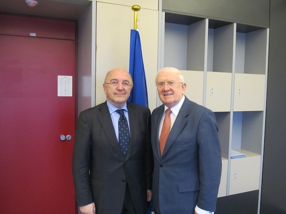 Pat the Cope Gallagher MEP is pictured with the EU Commissioner for Competition, Joaquin Almunia