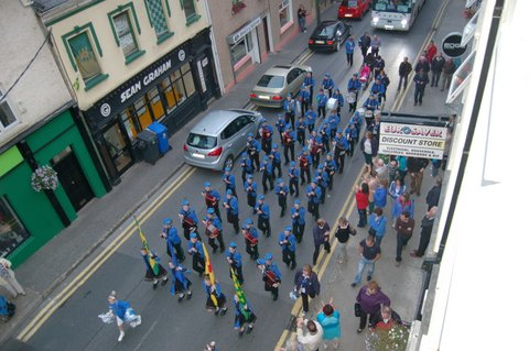Donegal Town Community Band marching up Quay St Donegal Town last night