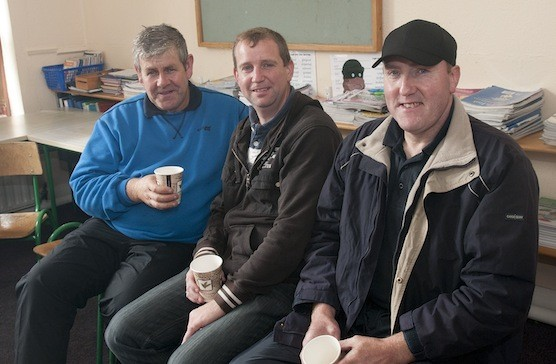 Kieran O'Donnell, Neville Rodgers and Patrick Rodgers enjoying a quick cuppa before heading on the Tractor Run.