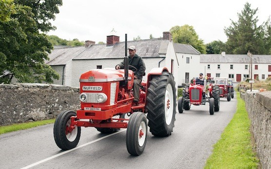 Alan Robb leads the charge through Newmills at the Drumoghill NS Tractor Run.