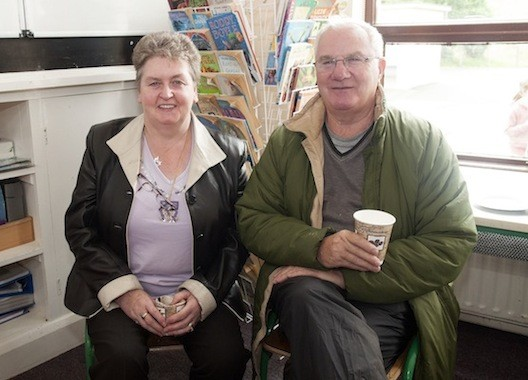 Anne Roarty and William Ramsey enjoying a quick cuppa before the start of Saturday's Tractor Run in aid of Drumoghill NS.