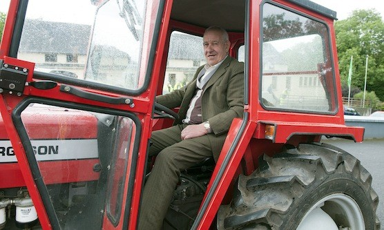 Michael Burns all set for the off at the Drumoghill NS Tractor Run.
