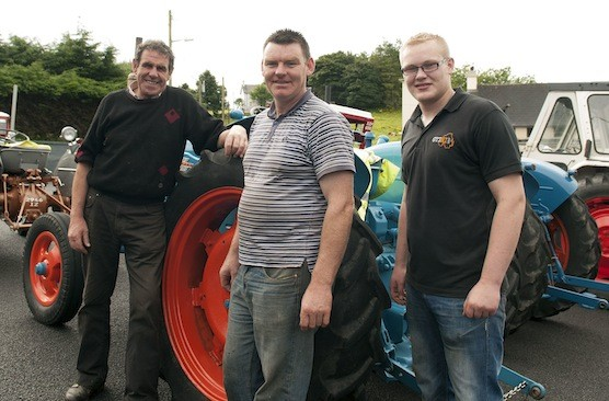 James O'Donnell, Terence McClintock and Paul McNamee at the Drumoghill NS Tractor Run.