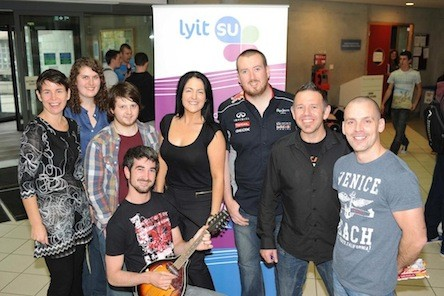 Pictured at Clubs and Societies Day in LyIT are Helen Donohue, Hillwalking, Lynda Tunstead, Christian Union, Ciaran Cairns, Gming Society, Darren Coleman, Music and Bands Society, Fiona Kelly Student Union Administrator, Sean T Patton, Motor Club, John McClean, Gardening Club, Gearóid Maguire, Android Society. (Photo Paddy Gallagher).