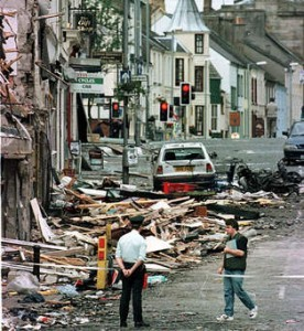 The scene of devastation following the Real IRA bomb attack on Omagh