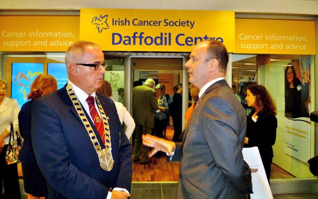 Letterkenny Town Mayor, Cllr Paschal Blake and Mark Mellet, Head of Fundraising for the Irish Cancer Society