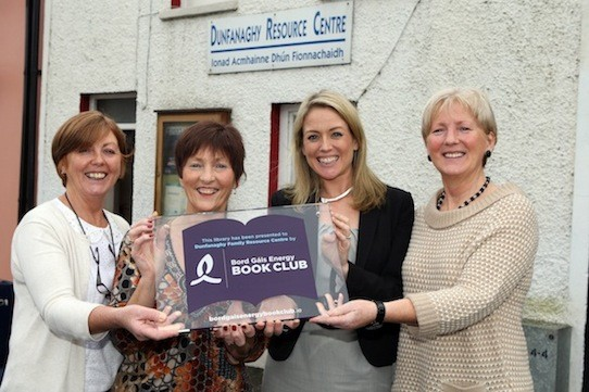 Aoife Donohoe, with  May Ward ,Chairperson of Dunfanaghy Family  Recourse Centre. Bernie Sweeney, Administrator and Jean Mc Laughlin Project Co-ordinator