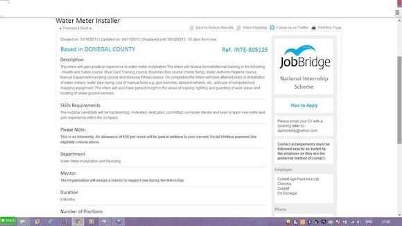 The Jobbridge advert looking for water meter installers