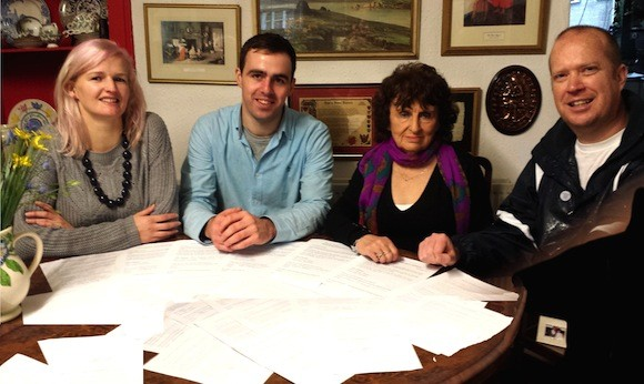 L-R Michelle McAteer, Cllr Jack Murray, Phyllis McKenna & Daithi McGonigal with petitions signed by businesses in Muff in support of a full pedestrian crossing in the village
