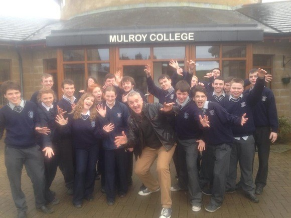Dessie Gallagher with students from Muroy College.