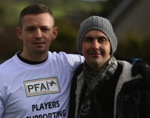 Finn Harps captain Kevin McHugh with Mark Farren at a fundraiser.