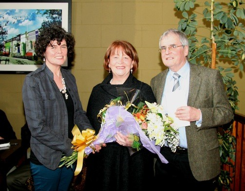 Carmel Gallagher, NRDO making a presentation to Aidan and his partner Anne Clydesdale at the recent retirement function held in the Courthouse Lifford.