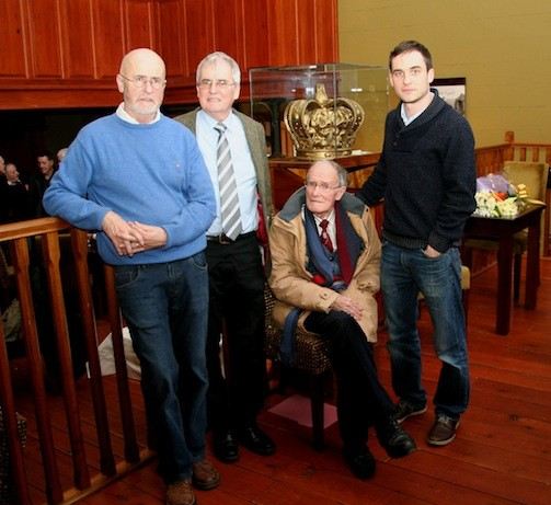 Aidan with his brother John, his father Terry and his son Terry at his recent retirement function in the Courthouse Lifford.