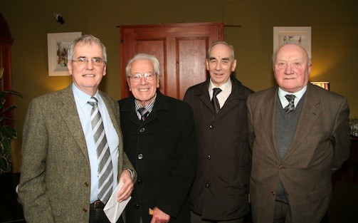 Aidan with former County Engineer Jimmy McShane and retired colleagues Tom Bradley and Henry Richie at his recent retirement function in the Courthouse Lifford.