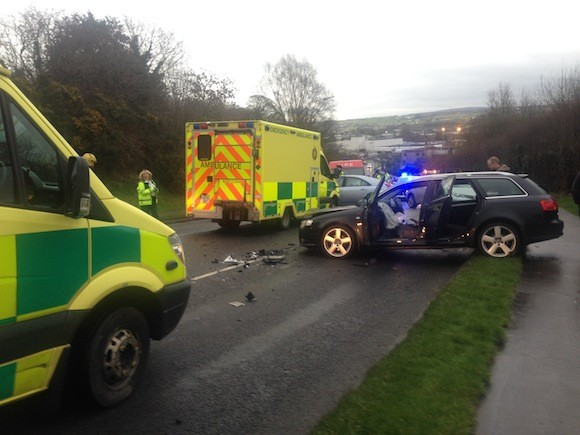 Emergency personnel at the scene of this evening's crash in Letterkenny.